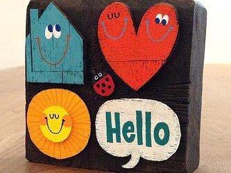 #005 木のブロックシリーズ - Helloの画像