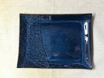 NO.21長方形皿(渦巻き柄)青の画像