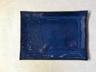 NO.22長方形皿(渦巻き柄)青の画像
