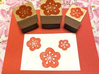 ✿季節の花はんこ✿【梅の花3個セット】2㎝四方他の画像