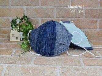 シックな遠州綿紬の立体マスク(大人サイズ)の画像