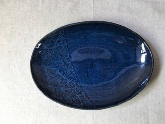 NO.32オーバル皿(渦巻き柄)青の画像