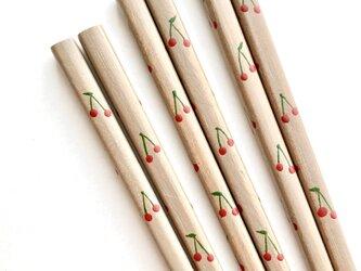 子ども箸 18cm〈白漆の摺り漆箸・さくらんぼ〉の画像