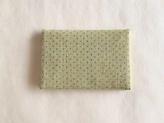 手染カード入れ(古着物地・薄黄緑グレー)の画像