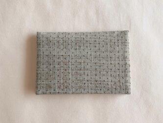 手染カード入れ(古着物地・グレー茶)の画像