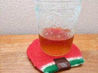 かき氷のコースター(スイカ)の画像