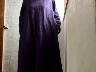 リネン100丸襟ワンピース ダークネイビーの画像