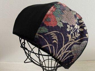 TOPI 着物リメイクのベレー帽(紫×黒デニム)の画像