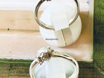 ダイヤモンドと小さなカエルの指輪 4月のカエルの画像