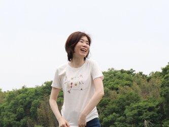 【Tシャツ】Love you/花文字 キッズ 大人 オフホワイト/ライトピンク/ネイビーの画像