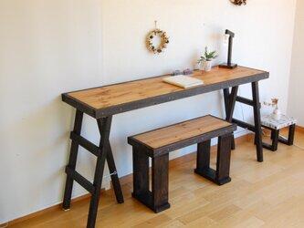 三脚足テーブル140*38(チョコブラック) 組立型の画像