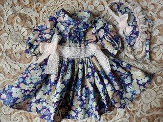 和柄のドレスとボネ ドール背丈45~48cm位用 (パープル系)の画像
