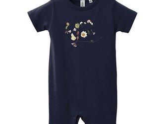【Tシャツ】Loveyou 花文字ロンパース ネイビー/ピンクの画像