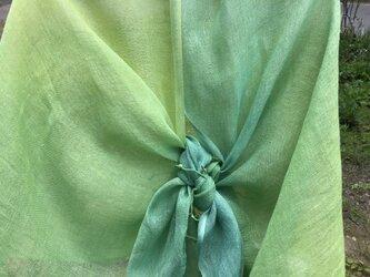 草木染め 麻ショール 緑グラデーションの画像