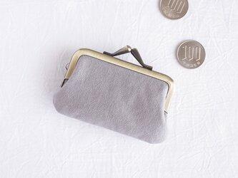/ミニマル/小さながま口(小銭入れ・財布)コットンキャンバス グレーの画像