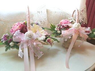 Weddingフラワーガールとボーイの花かご 結婚式 子供用の画像