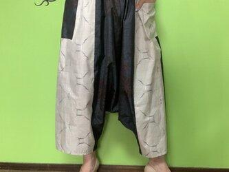 大島紬のおとなサルエルパンツ 朝顔の画像