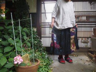 コロナにまけるな☆着物リメイク☆古布大島紬に銘仙をパッチして一点モノのおとなスカート77㎝丈の画像