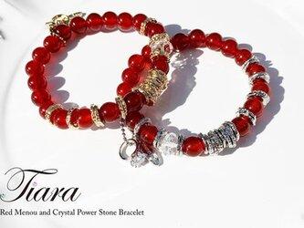 赤メノウ 水晶 オリジナルパーツのチャーム付きパワーストーンブレスレット 337の画像