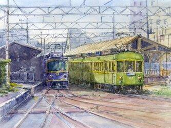 水彩画原画 江ノ電駅上下線 #422の画像