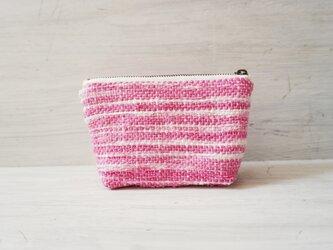 裂き織りのキャンディポーチ 優しいピンクの画像