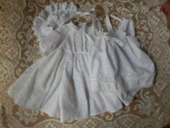 ビスクドール背丈60~63cm用 ローンレースの着重ねドレスとボネの画像