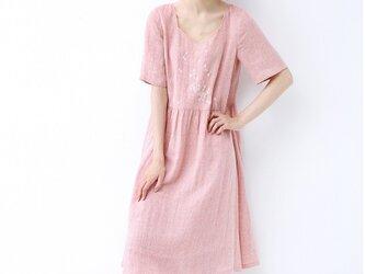 ★SALE★【S】小花刺繍ポケット付シンプルなワンピース♪の画像