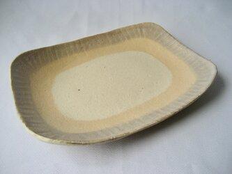 スリップ模様 角長皿の画像