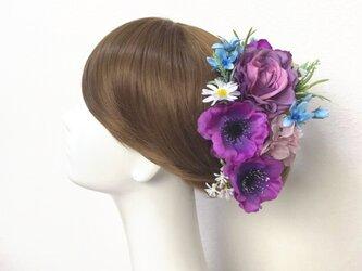 ウェディング・成人式に♡ラベンダー色の薔薇とアネモネのヘッドドレス(15本セット) 薔薇 デージー 結婚式 成人式の画像