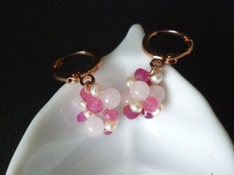 SALE= Berryピアス - Pink Sapphire 14kgfの画像