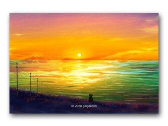 「日暮れてぼんやり」 ほっこり癒しのイラストポストカード2枚組 No.1086の画像