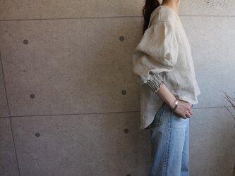 relaxing  リネン 袖デザインバックリボンプルオーバーの画像