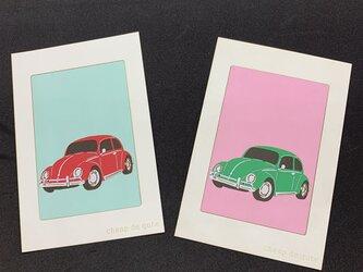 切り絵イラスト ポストカード仕立て「フォルクスワーゲン ビートル」の画像