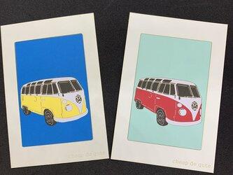 切り絵イラスト ポストカード仕立て「フォルクスワーゲン BUS」の画像