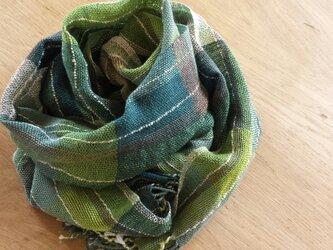 【手織り】コットンとリネンのストールの画像