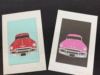 切り絵イラスト ポストカード仕立て「Chevrolet」の画像