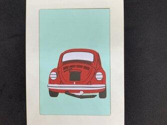 切り絵イラスト ポストカード仕立て「VWビートル 後ろ姿」の画像