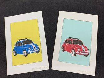 切り絵イラスト ポストカード仕立て「フィアット500」の画像