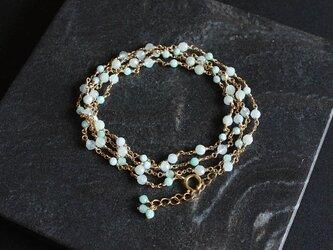 No. 110 淡い青と緑の天然石のネックレスの画像