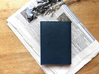 イタリア革の文庫本カバー/青の画像