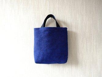 裂き織りのおさんぽバッグ 青の画像