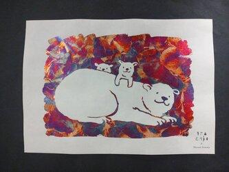 ギルディング和紙A3サイズ polar bear シロクマ 生成和紙 赤混合箔の画像