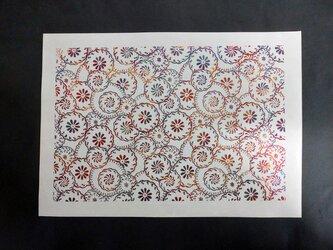 ギルディング和紙A3サイズ 花輪 生成和紙 赤混合箔の画像