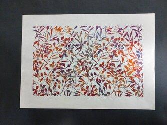 ギルディング和紙A3サイズ 椿 生成和紙 赤混合箔の画像