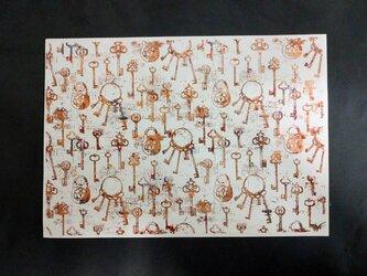 ギルディング和紙A3サイズ 鍵 生成和紙 赤混合箔の画像