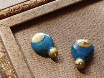 『星を描く』耳飾り -青- ピアス/イヤリング 絵画のような装身具 純金箔 ノスタルジー ヴィンテージ f-82の画像