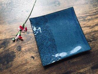 NO.44角小皿(渦巻き柄)青の画像