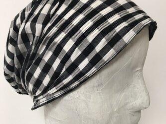 ターバン風帽子 (白黒チェック)の画像