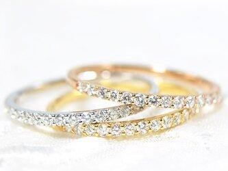 K18 ダイヤモンド リング ハーフエタニティー K18ピンクゴールド BO089CIの画像