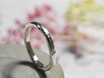 槌目 シルバーラウンドプレーンリング 2.5mm幅 でこぼこ シルバー950 SILVER RING 指輪 シンプル 263の画像
